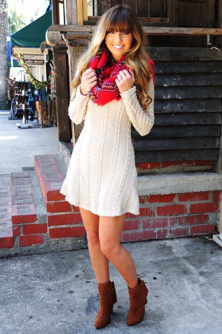 Sweater dress, blanket scarf, ankle boots. Add a colored tight for more warmth.   27 Chic Winter Date Night Outfits For Girls - Styleoholic