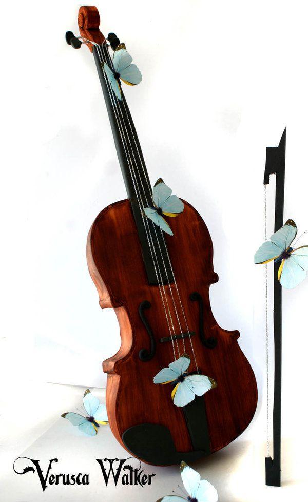 3D Violin Cake (Original Version) by Verusca.deviantart.com on @deviantART