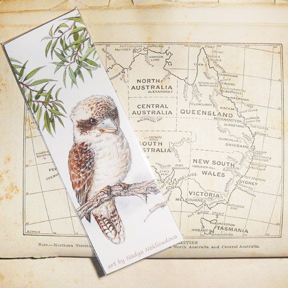 Bird Art Bookmark - Kookaburra - canvas printed bookmark  2x6 inches (5x15cm) - Australian bird wildlife art print, $5.00 by oceloteyes