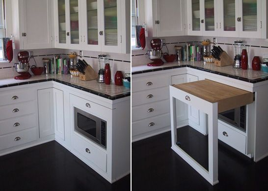 Version 2...This is awesome! Great use of space for a small kitchen. Instant counter top! Could be great in the kitchen remodel!