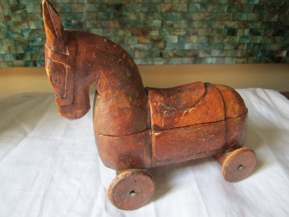 Antique 1800s Hand Carved Trojan Horse On Wheels With 2