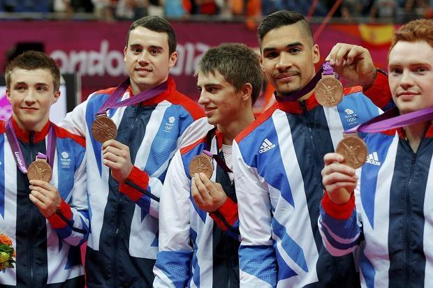 Team GB's bronze-winning gymnasts Louis Smith, Daniel Purvis, Kristian Thomas, Max Whitlock and Sam Oldham