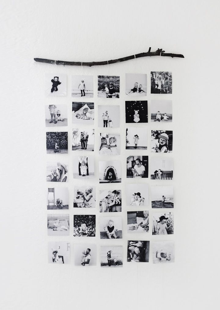 DIY Photo Wall Hanging. I love this way of displaying photos with the natural touch of using a twig or branch. It looks so neat and unusual!: