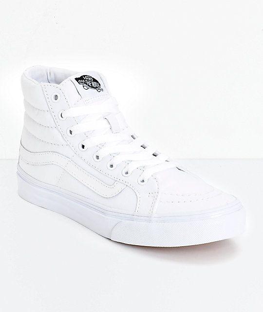 3d648de79878 Vans Sk8-Hi Slim True White Skate Shoes in 2018