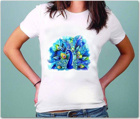 Peafowl T-Shirt  - Art - Drawing  t-shirt for women by TShirtpanic