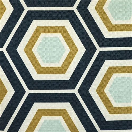 hexagon geometric fabric ocean upholstery indooroutdoor fabric home decor fabric by the yard - Home Decor Fabrics By The Yard