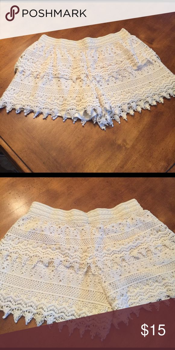 Lace shorts Show off your tan in these cream lace shorts. So cute and dressy for all your upcoming spring and summer events. limonata Shorts