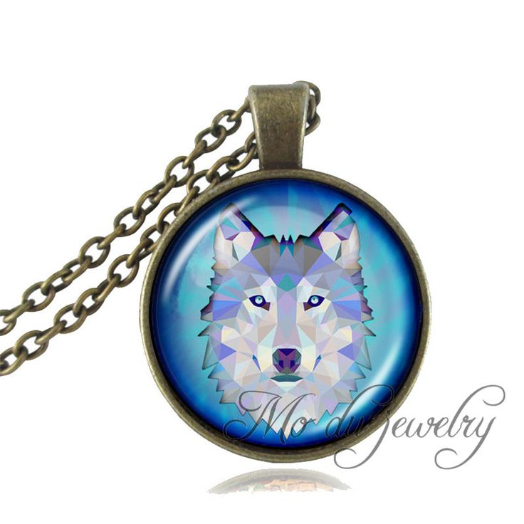 Wolf Art Picture Necklace Wild Animal jewelry Wolf Pendant Wolf Jewelry Glass Cabochon Pendant Necklace for Women Men Jewellery