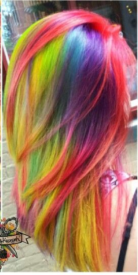 Yellow red purple rainbow dyed hair color @hairbykaseyoh