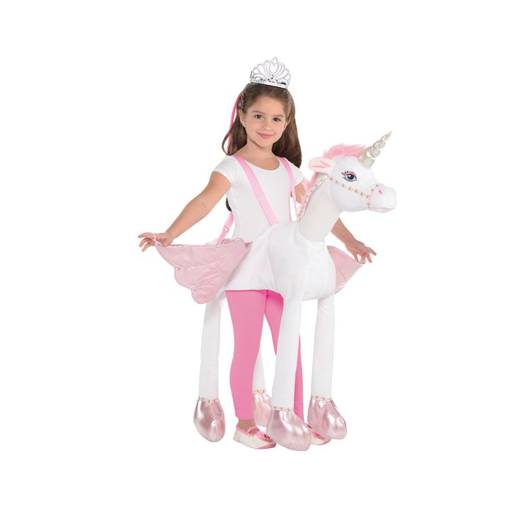 Transport your little one to a magical land where fairies and unicorns exist with this enchanting Ride-On Unicorn costume.With adjustable straps to fit all sizes, this unicorn is guaranteed to give your child hours of fun and allow their imagination to run wild. The pink wings have wrist loops and the body is made from soft plus fabric. The pretty ribbon reins are covered in flowers to match the trim around the pretty pink hooves.