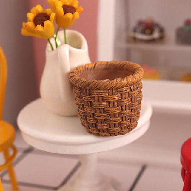 Mini casa de muñecas con marco de ratán, cesta tejida a mano para almacenamiento de alimentos y verduras, decoración en miniatura, 1/12 _ - AliExpress Mobile Storage Baskets, Food Storage, Cheap Doll Houses, Rattan, Hand Weaving, Dolls, Tableware, Frame, Easy