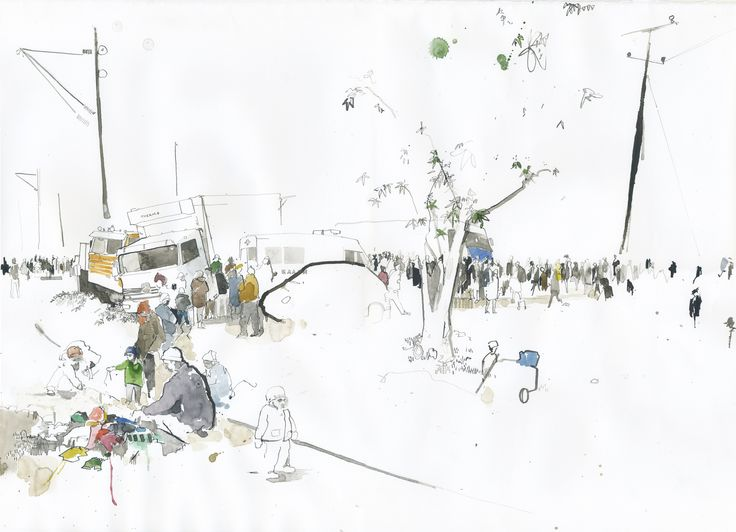 Refugee camps as seen by illustrator George Butler