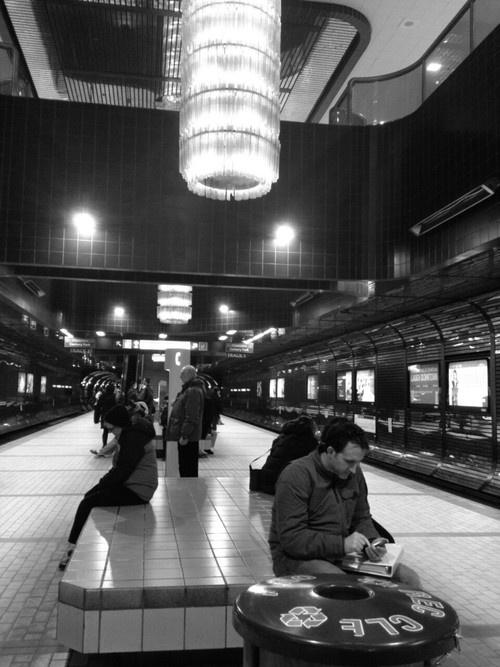 Chandeliers in Corona subway station, Edmonton Alberta Canada.  Photo Courtesy of csoars via tumblr.