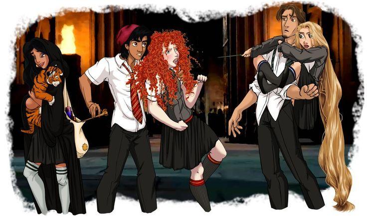 26 Disney Characters Reimagined As Hogwarts Students | Jasmine, Rajah, Aladdin, Merida, Rapunzel and Flynn.