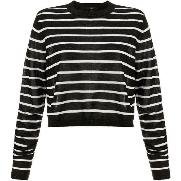 Tibi Nautical Stripe Cropped Pullover ($175) ❤ liked on Polyvore featuring tops, sweaters, multicolour, long sleeve sweaters, cropped sweater, long sleeve crop sweater, multi color striped sweater and striped sweater