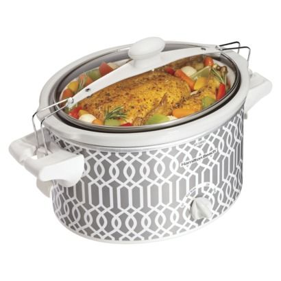 """Hamilton Beach Grey/White 4 Qt. Trellis Slow Cooker   I look at this crock pot and in my mind I hear Mary Poppins... """"A thing of beauty is a joy forever."""""""