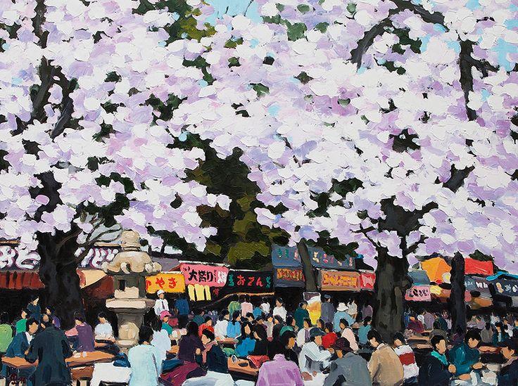 "Pham Luan - Hanami MatsuriOil on Canvas - 90cm x 120cm Exhibition - ""Seasons of Japan"" ANA InterContinental Tokyo Nov. 10, 2016 - Feb. 5, 2017 InquiryPin it"