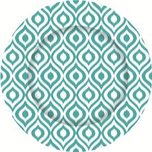 mediterranean turquoise ikat charger plates
