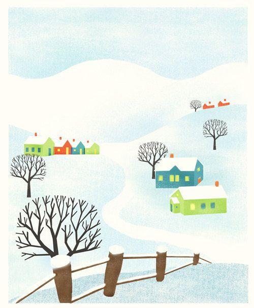 Snowy Little Town Print par automatte sur Etsy, $15.00