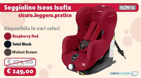 Iseos Isofix si installa in senso di marcia e protegge il tuo bambino da 9 mesi fino a 4 anni circa (omologato 9-18 kg)! Disponibile in più colori!