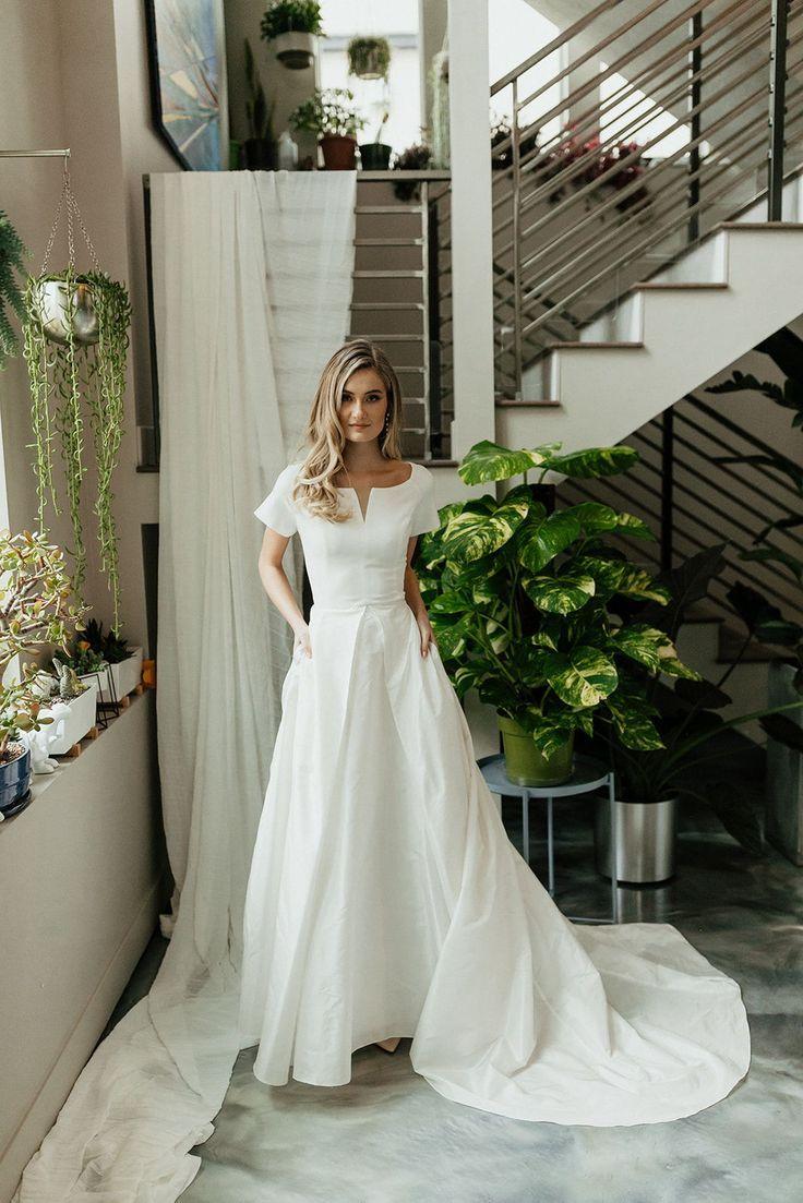 Modest Wedding Dress With Pockets Short Sleeve Wedding Dress Modest Wedding Dresses Backless Wedding Dress [ 1103 x 736 Pixel ]