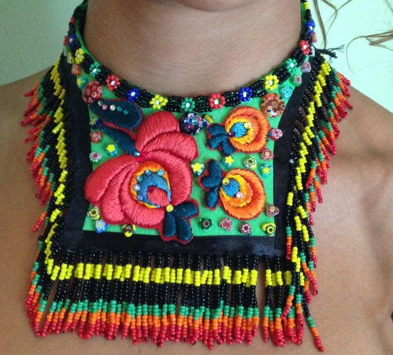 Bohemian leather necklace folk art by Diomios on Etsy, $450.00