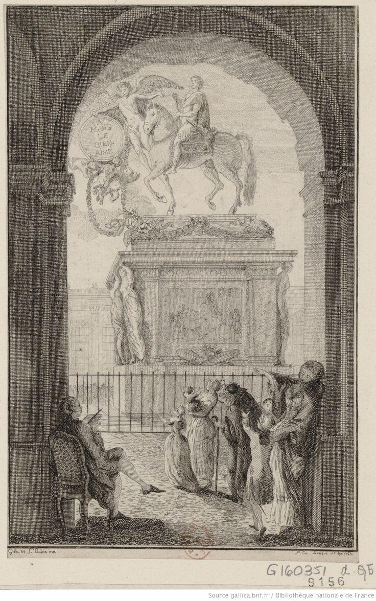 Gabriel de Saint-Aubin - La Statue équestre de Louis XV précédée par un génie portant un médaillon sur lequel on lit : A Louis le bien aimé : [estampe]