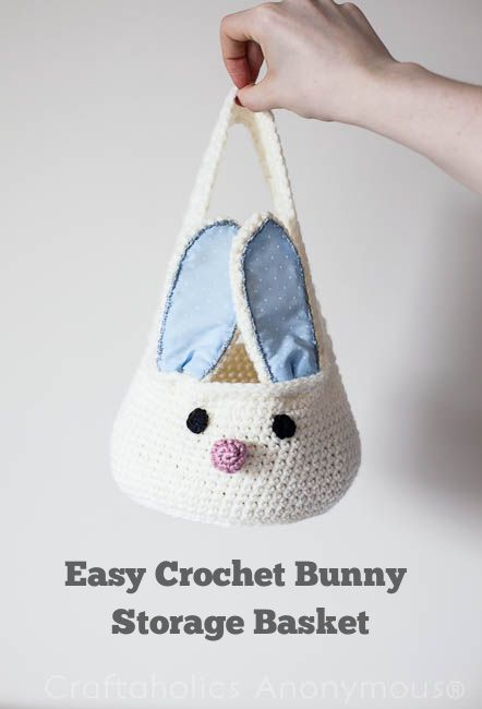 Cute Crochet Bunny Basket Tutorial. Perfect for Easter! #crochet #easter #spring