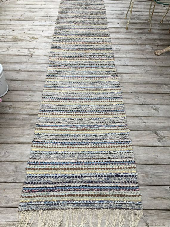Long 3.6 m Vintage Swedish Rag Rug in Yellow by BeyondFranceLTD