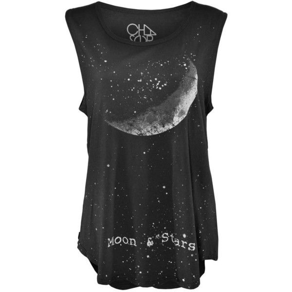 Chaser Crescent Moon and Stars Muscle Tank Top ($2,525) ❤ liked on Polyvore featuring tops, print tank top, cotton tank, print tank, mixed print top and star print top
