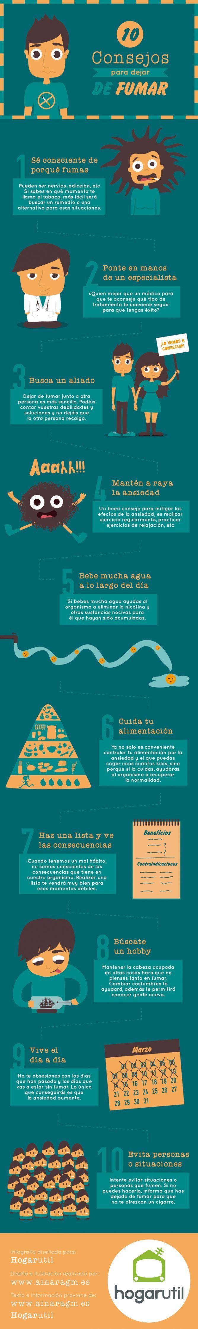 10 consejos para dejar de fumar. Infografía realizada para Hogarutil #infografia #ilustracion #diseno #consejos #fumar #salud