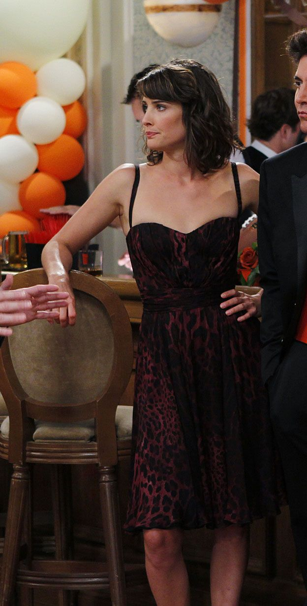 Robin's red leopard print dress at the wedding on How I met your mother.