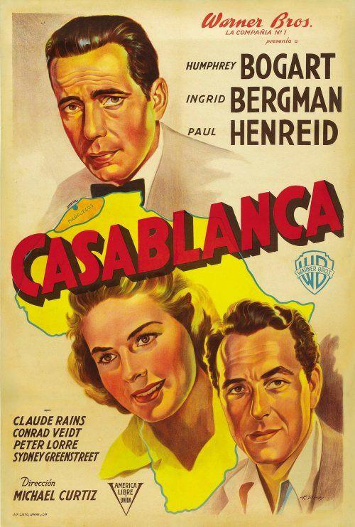 Casablanca movie poster with Ingrid Bergman and Paul Henreid