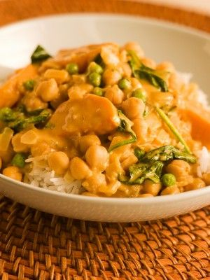Simple sweet potato/chick pea vegan curry recipe. Really good, lots of room to add heat(spice). You can substitute almond milk and coconut flakes for coconut milk in this.