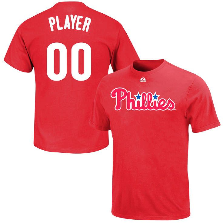 Philadelphia Phillies Majestic Custom Roster Name & Number T-Shirt - Red - $31.99