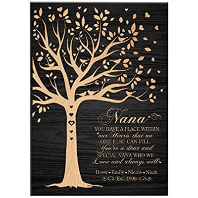 "Personalized Gift for Nana Mothers day Gifts Custom Wall Plaque for Grandmother Grandma, Mimi, Mothers Day Thank You Gift (Black, 6""x 8"")"
