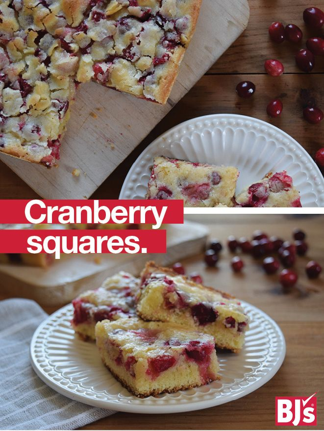 Homemade Holiday Gift - Fresh Cape Cod Select Premium Cranberries give this easy bar cookie recipe its zesty flavor. Bake ahead and freeze. http://stocked.bjs.com/food/cranberry-squares