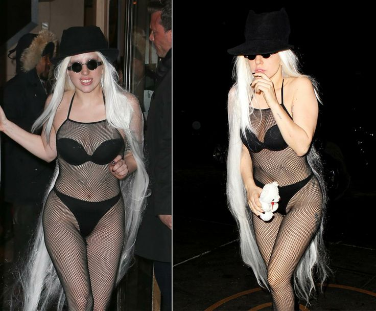 It looks like Lady Gaga struggled to maintain her poker face as she braved the freezing cold temperatures in New York City wearing basically nothing. The pop star donned skimpy underwear and a fishnet catsuit as she left the studio on Feb. 17, 2014.