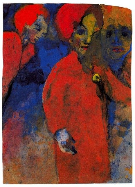 "I became hooked on German Expressionism during my time in Art School. I ended up doing Honors work in Art History and focused upon German Expressionist paintings and prints. This is one of the marvelous ""unpainted paintings"" by Emil Nolde... part of the body of watercolors he painted because they didn't have the tell-tale smell of oils, while banned under penalty of death by the Nazis from making any art at all. He hid these works in a secret floor panel beneath the dining room table."