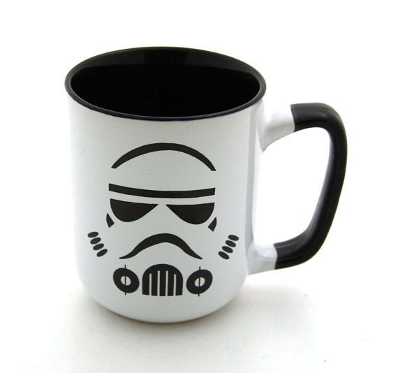 Star Wars (R) Storm Trooper Mug Black handle Stoneware on Etsy, $16.00. And I now want this mug.