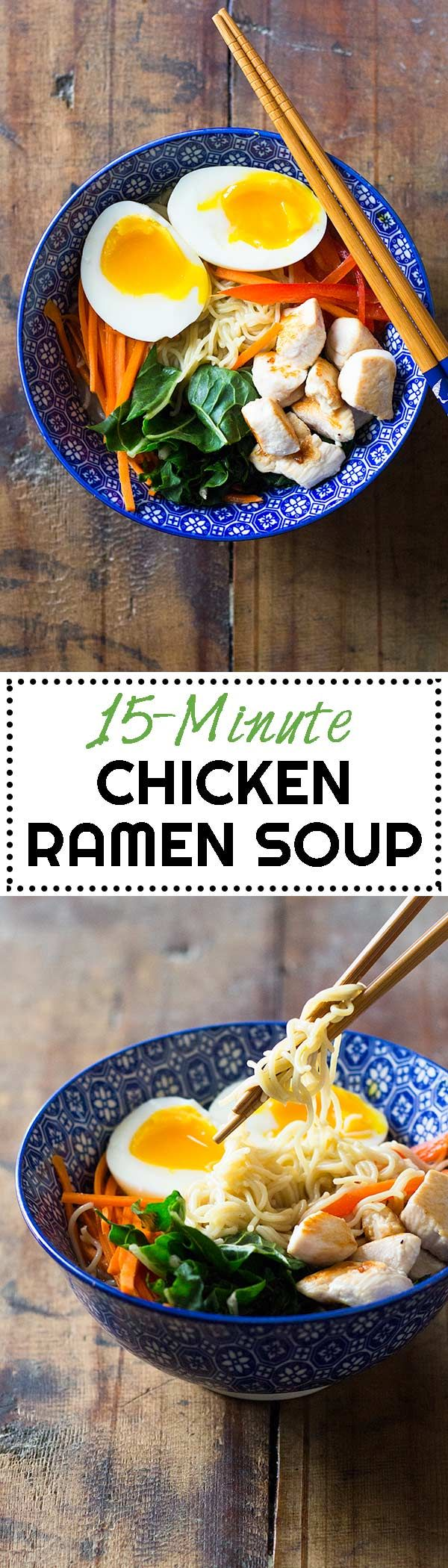 You're *this* close to ordering unhealthy take-out? STOP! I have a healthy alternative for you: 15-Minute Chicken Ramen Soup. via @greenhealthycoo