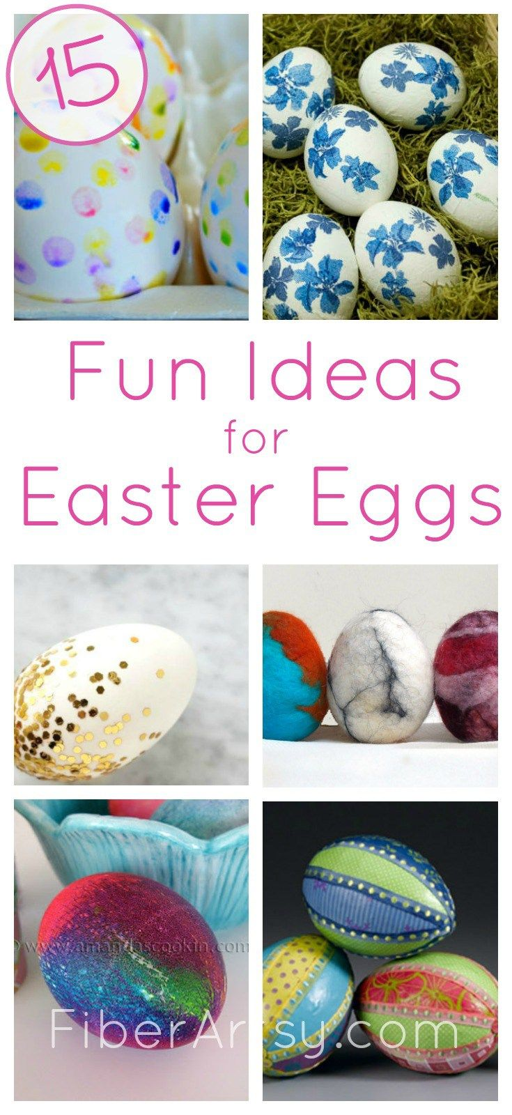 Decorating Easter Eggs the fun way. Here are 15 creative ideas for coloring and dyeing your Easter Eggs. You can print, decoupage and marble them.