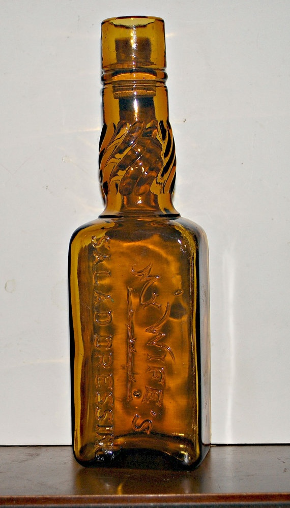 antique amber bottle condiment bottle   my wives by capecodgypsy, $30.00