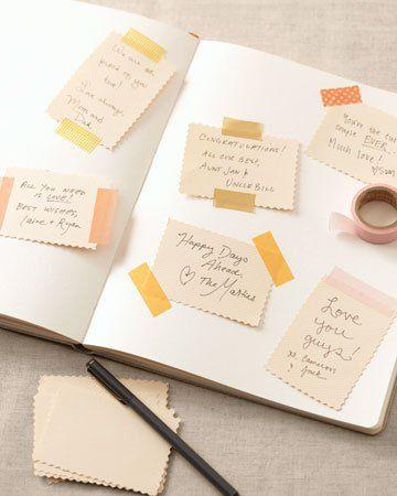 Pour le livre d'or, penser aux cartes et masking tape!