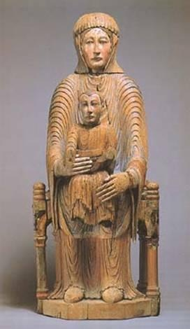 Romanesque art  Virgin and Child   Relic ware   polychromed wood   1050-1150 CE   Google Image Result for http://cueflash.com/cardimages/questions/thumbnails/2/2/7422910.jpg