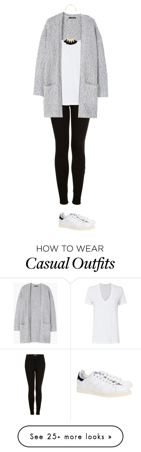"""""""Weekend Casual basics - long cardigan, drapey white vneck tshirt, black Moto skinnies, and Stan Smith Adidas"""" by wrymommy on Polyvore featuring Topshop, Monrow, MANGO, Madewell and adidas Originals"""
