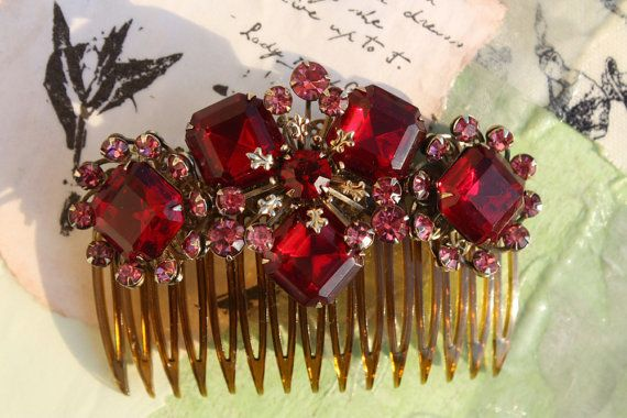 Ruby Hair Comb Red Hair Comb   by bridalwear,   $85.00