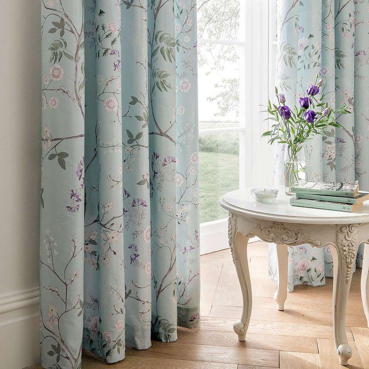 Elegant curtains for dining room - Dorma Maiya Emboridered 100 Cotton Duck Egg Duvet Cover