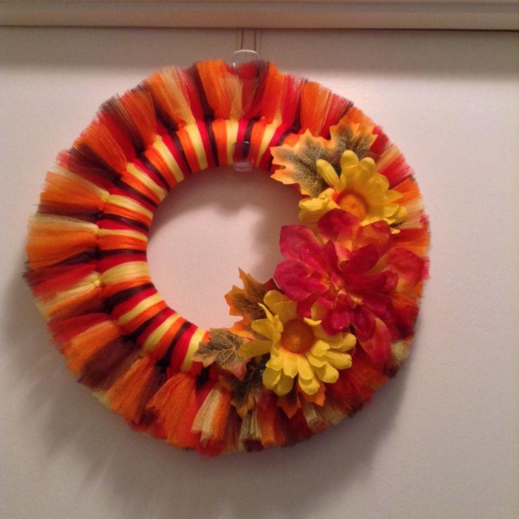 "SALE! SALE! 10"" Fall Tulle Wreath by SandrasCraftTable on Etsy https://www.etsy.com/listing/232294461/sale-sale-10-fall-tulle-wreath"