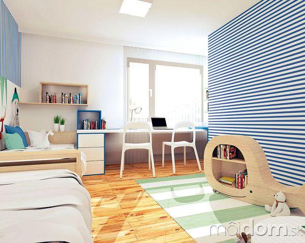 Pracovný stôl a�police na knihy v�návrhu sú vyrobené na mieru. Ostatné zariadenie (koberec, stoličky, nízke sedenie) možno zakúpiť v�jednotlivých predajniach.